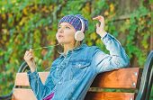 Enjoy Powerful Sound. Feeling Awesome. Cool Funky Girl Enjoy Music In Headphones Outdoor. Girl Liste poster
