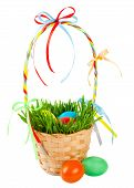 picture of easter basket eggs  - Easter eggs in basket with green grass - JPG