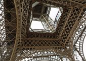Bottom View Of Detail Of Truss Of Eiffel Tower Called Tour Eiffel In French Language In Paris France poster