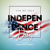 4th Of July Independence Day Of The Usa Vector Illustration Wth American Flag And Typography Letter  poster