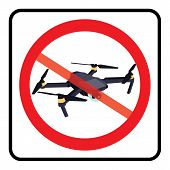 No Drone Zone Sign. No Drones Icon Vector. Flights With Drone Prohibited poster