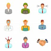 Best Professional Icons Set. Cartoon Set Of 9 Best Professional Icons For Web Isolated On White Back poster