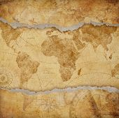 Vintage torn worn world map illustration poster