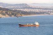 container cargo ship in San Francisco California USA poster