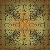 Seamless Classic Vector Golden Pattern. Seamless Pattern On Yellow And Neutral Colors With Golden El poster