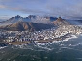 Aerial View Over Cape Town, South Africa With Table Mountain poster