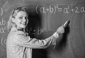 I Am Happy. Teacher On School Lesson At Blackboard. Woman In Classroom. Study And Education. Modern  poster