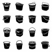 Bucket Types Container Icons Set. Simple Illustration Of 16 Bucket Types Container Icons For Web poster