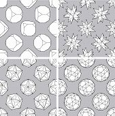 picture of dodecahedron  - Set of four seamless 3d polygon backgrounds - JPG