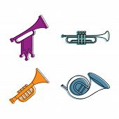 Trumpet Icon Set. Color Outline Set Of Trumpet Icons For Web Design Isolated On White Background poster
