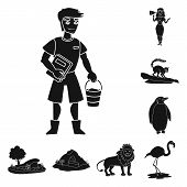 Vector Illustration Of Fauna And Entertainment Symbol. Set Of Fauna And Park Vector Icon For Stock. poster