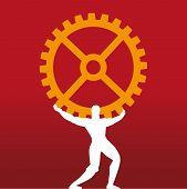 Industrial Leader. Mythology Titan Symbol Supporting Cog. poster