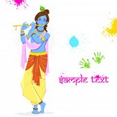 picture of lord krishna  - illustration of  Krishna playing holi with colors and pichkari - JPG