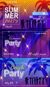 Invitation Flyer Set For Summer Party On Beach Or In Nightclub. Vector Illustration With Happy Danci poster