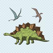 Stegosaurus And Pteranodon Dinosaur. Jurassic And Cretaceous Animal. Prehistoric Vector Dino.dinosau poster