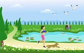 The Woman And Her Dog Are Jogging On The Way In The Park. With Swamps And Green Grasslands As The Ba poster