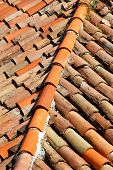 Part Of Tile On The Roof Of A House Building, Closeup. A Red Tiled Terracotta Roof. The Orange Roof  poster