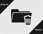 Grey Delete Folder Icon Isolated On Transparent Background. Folder With Recycle Bin. Delete Or Error poster