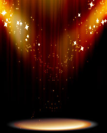 image of curtains stage  - Curtain background with spotlights and some glitters - JPG