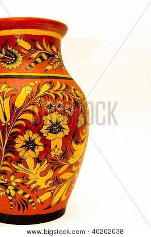 Clay Jug With Folk Painting