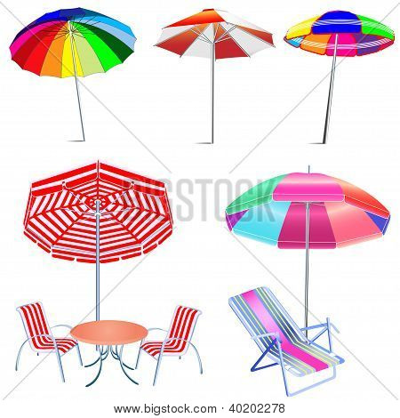 Kit Umbrella Beach With Chairs And Table