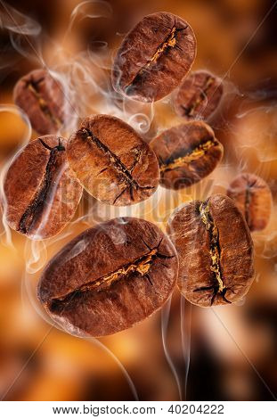 Flying coffee beans in smoke
