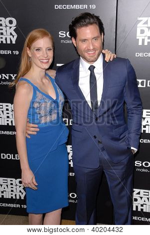 LOS ANGELES - DEC 10:  Jessica Chastain, Edgar Ramirez arrive to the 'Zero Dark Thirty' premiere at Dolby Theater on December 10, 2012 in Los Angeles, CA