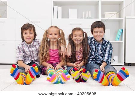 Children With Colorful Socks