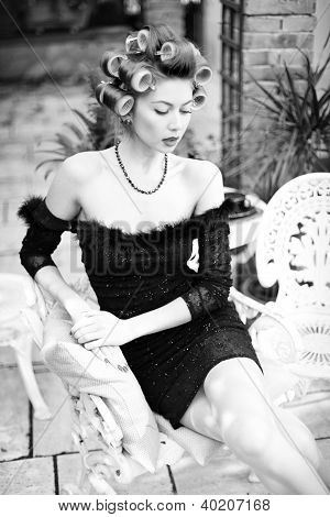 Sexy Woman Posing As An Aristocrat - Fashion Shoot (intentional Soft Focus And Vintage Look)