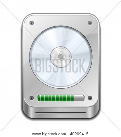 HDD Icon. Hard Disk Drive with Progress Bar. Vector illustration
