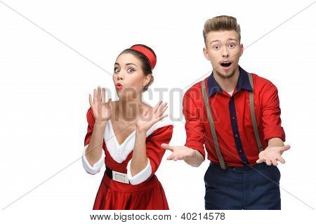 cheerful retro couple