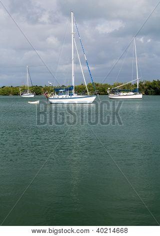 Yachts Moored In No Name Harbor Florida
