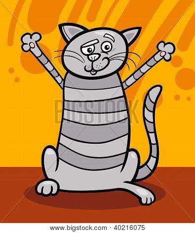 Happy Tabby Cat Cartoon Illustration