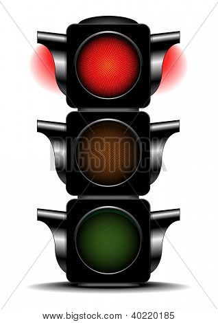 detailed illustration of a traffic light with activated red light