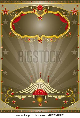 Brown Circus Night. A circus vintage poster with a stage and sunbeams for your advertising