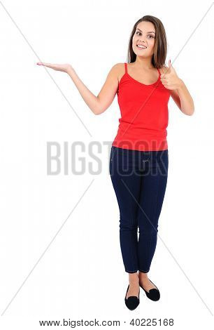 Isolated young casual girl presenting
