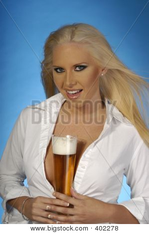Sexy Blond With Beer 6