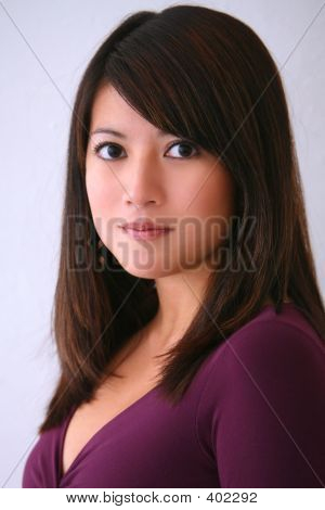Asian Woman Purple Top