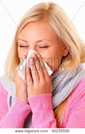 Blonde Woman With Rhinitis