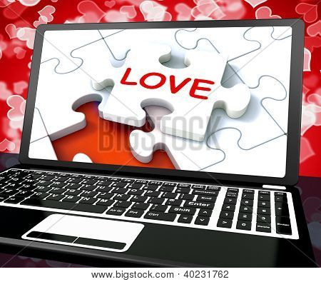 Love Puzzle On Laptop Shows Internet Dating