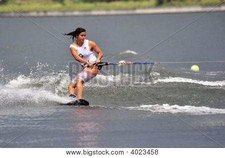 Water Ski In Action: Woman Shortboard Tricks