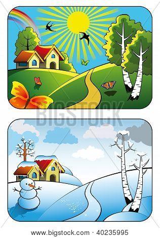 Winter and summer landscape