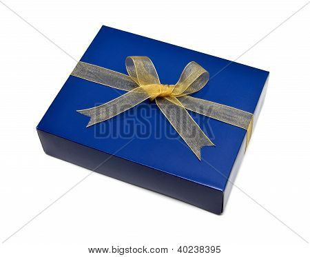 Single Blue Gift Box With Gold Ribbon And Bow Isolated On White