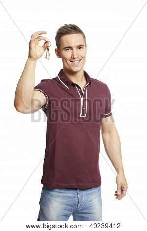 Young Man Holding Set Of House Keys
