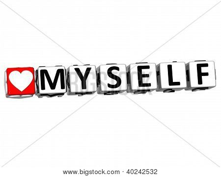 3D Love Myself Button Click Here Block Text