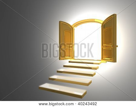Big Golden Door Opened On White