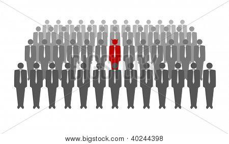 Vector illustration of red devil in crowd of businessmen