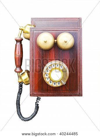 Antique Wooden Telephone Isolated