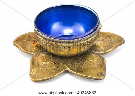 Antique Brass Pot With Blue Glass