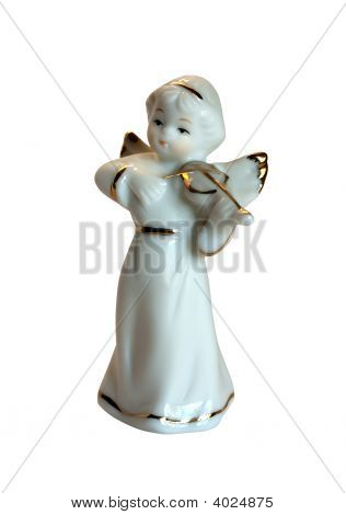 Angel With A Violin. Porcelain Toy Isolated On The White Background